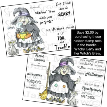 Witchy Gerty and Her Brew Rubber Stamp Set [00-648-660P20]