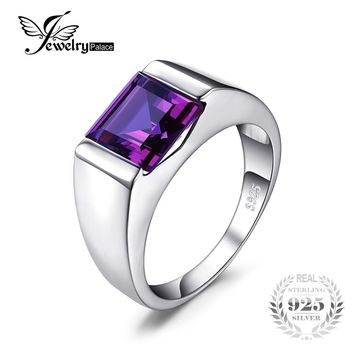 Jewelrypalace Men's Square 3.3ct Created Alexandrite Sapphire 925 Sterling Sliver Ring Vintage Jewelry Party Wedding Accessories