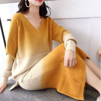 Knit women autumn and winter 2018 new women casual suit dress contrast color sweater jacket sporting two-piece set 50004