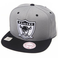 Oakland Raiders NFL Grey 2Tone Arch Undervisor Print with Velcro Closure hat by Mitchell & Ness