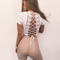 Sexy Back Lace Up Crop Top