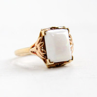 Antique 10k Yellow Gold Opal Ring - 1920s Art Deco Size 5 1/2 White Opal Fine Gemstone Jewelry with Leaf Shoulder Accents