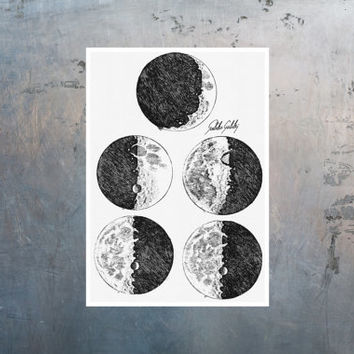 Science art - Gallileo drawings of the Moon Phases astronomy educational poster - recovered image from science book