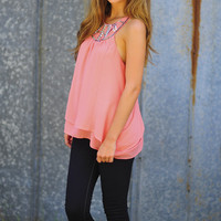 Jeweled With Joy Top: Pink | Hope's