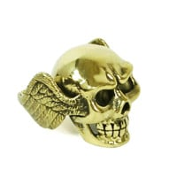 Monserat De Lucca – Skull With Wings Brass Ring In Gold | Thirteen Vintage