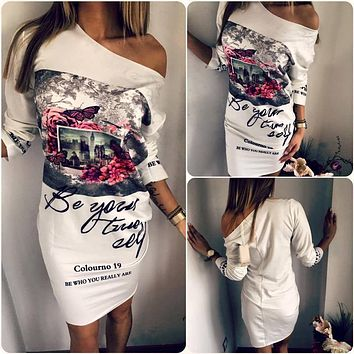 Off Shoulder Sexy Dress Women Print Dress Long Sleeve 2019 Spring Summer Casual Cartoon Dresses Women O-Neck Mini Short Dress