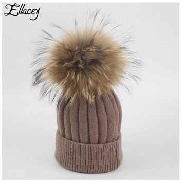 Ellacey 2017 Winter Kids Striped Wool Xmas Raccoon Hair Ball Beanies Child Wool Knitted Cap Baby Girl Pompom Christmas Hats