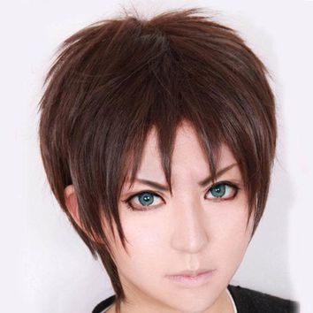 DCK9M2 Attack on Titan Eren Jaeger Short Dark Brown Cosplay Wig COS-320G