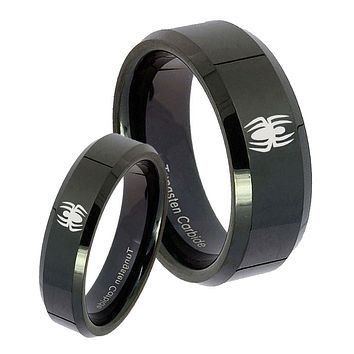 His Hers Spiderman Beveled Edges Edges Black Tungsten Mens Engagement Ring Set