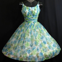 Vintage 1950's 50s Blue Green Ruched Floral Chiffon Organza Party Prom Wedding Dress Gown