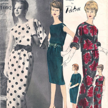 1960s Jean PATOU Vogue 1092 Paris Original Designer Evening Cocktail Sleeveless Dress Elbow Length Jacket Bust 32 Vintage Sewing Patterns