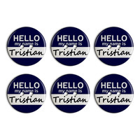 Tristian Hello My Name Is Plastic Resin Button Set of 6