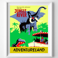 Disneyland Vintage, Disney Poster, Disneyland Print, Jungle River, Disney, Adventureland, Home Decor, Kid Room, Nursery, Halloween Decor