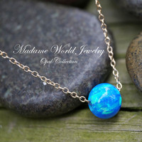 Reconstitute 7mm Blue Opal Bead Slider Necklace
