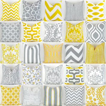 Gray & Yellow Throw Pillows -20x20 inch- Mix/Match patterns , cushion sham euro throw bold modern geometric grey white custom Premier Prints
