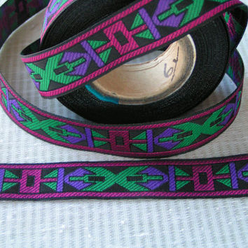 "6 yards, Purple, Fuchsia, Green on a Black Background Jacquard 3/4"" wide for all craft projects.and Washable"