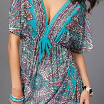 Plunging Neckline Waist Drawstring Bohemian Dress