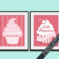 CUPCAKE Whimsical Quotes - Set of 2 11x14 Art Print (Featured in Raspberry and Cupcake Pink ) Customizable Kitchen Prints