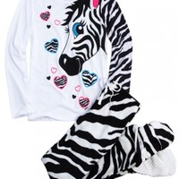Zebra 2pc Set With Removable Footies | Girls Pajamas Pjs, Bras & Panties | Shop Justice
