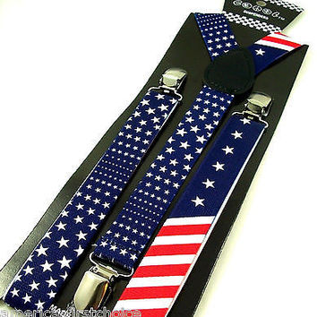 USA FLAG Pattern Suspenders Men Women Adjustable Fashion Suspender-New in Pkge!
