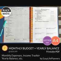MONTHLY BUDGET Yearly Balance Kit Black & White. A4. Letter Size. Money management. Debt, Savings, Spending Tracker. Financial Printable.