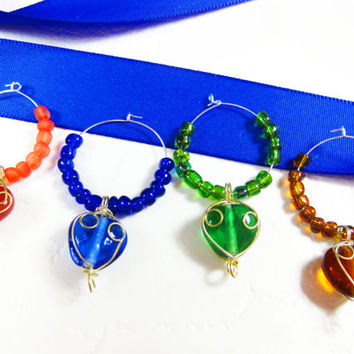 Wine Glass Markers with Mini Wire-Wrapped Hearts and Coordinating Beads in Blue, Coral, Green and Brown