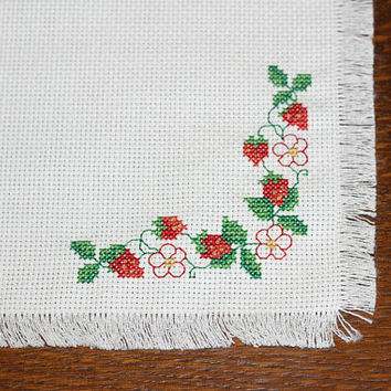 Bread Basket Cover | Roll Basket Liner Embroidered Strawberries on Aida Fabric | Cross Stitched Cover for Serving Breads at Dinner Parties