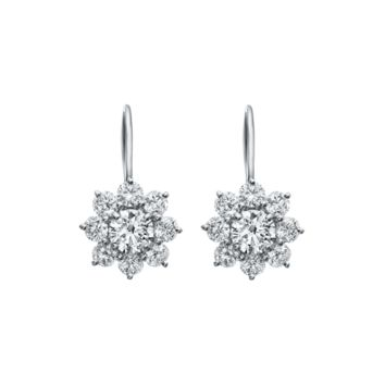 Sunflower by Harry Winston, Diamond Earrings on Platinum Wire