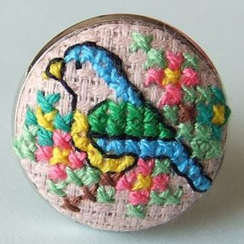 Darling Cross-Stitch Blue-Tit Ring