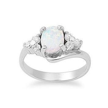 Sterling Silver Created Oval Opal and CZ Ring