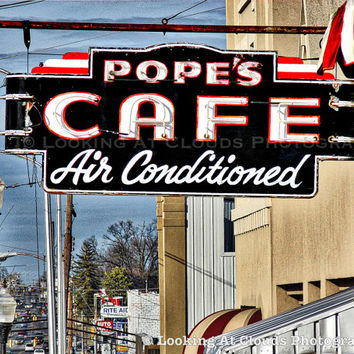 vintage diner art, city photo, Pope's Cafe, vintage retro city, architectural decor, neon sign, diner, small town, retro decor,