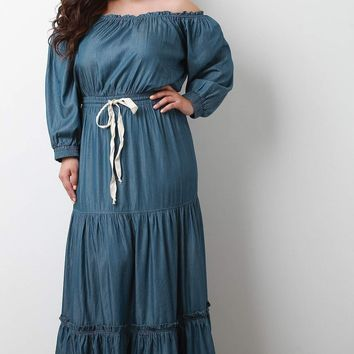 Tiered Off-The-Shoulder Long Sleeves Chambray Maxi Dress