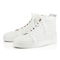 Christian Louboutin Louis Spikes Men's Women's Flat White/White Leather