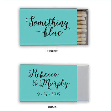 Matchbox Wedding Favors Something Blue - Foil Stamped Matches Bridal Shower Gift Personalized Matchboxes Rehearsal Custom Colors