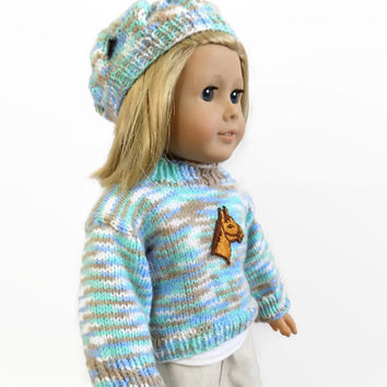 18 Inch Doll Sweater and Hat Set, Doll Outfit, Doll Clothes, 18 Inch Doll Hat