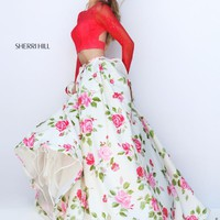 Sherri Hill Multi Print Taffeta Long Dress 50261