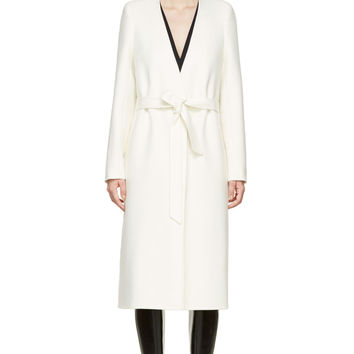 Maison Martin Margiela Ecru Cashmere Double Long Collarless Coat