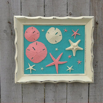 Beach Decor, Wall Hanging, Shell, Tiffany Blue, Coral, Upcycled