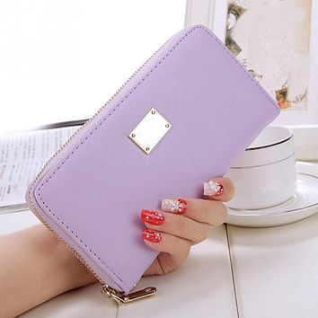 New Women Long Clutch Wallet Zipper Leather Purse Ladies Phone Bag Card Holder Wristlet