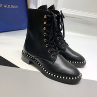 Kuyou Gx39930 Stuart Weitzman Sw Casual Shoes Women Mid Calf Boots Lace-up Boot In Leather With Pearls