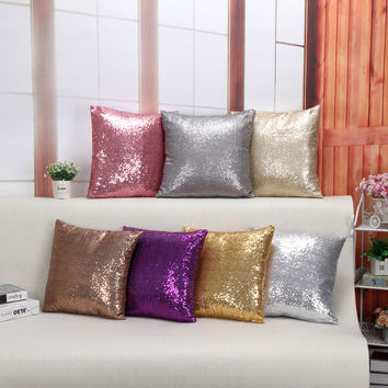 European 6 Color Sequins Pillow Cover Purple Champagne Gray Gold Silver Pink polyester 100% Decorative Sofa Cushion Covers