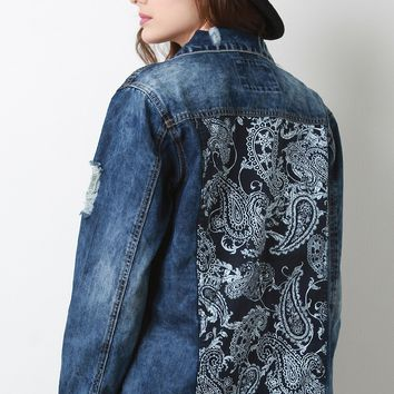 Paisley Distressed Denim Jacket