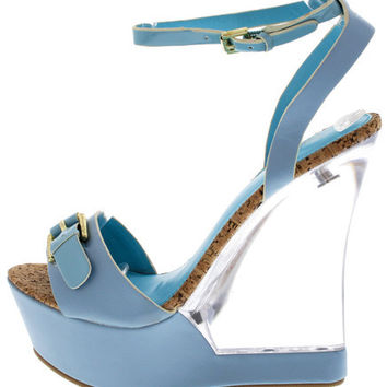 CATALINA BLUE CLEAR LUCITE WEDGE