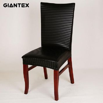 GIANTEX PU Leather Elastic Chair Cover Home Decor Dining Stretch Chair Cover For Weddings Banquet Hotel Washable U1080