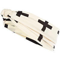 Cream cross print stretch hair band