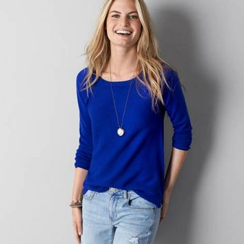 AEO Waffle-Knit Sweater, Cobalt Blue | from American Eagle