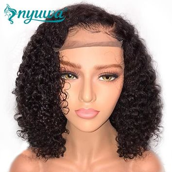 "Man Unit Base - NYUWA Short 13x6 Lace Front Human Hair Wigs Pre Plucked With Baby Hair Curly Brazilian Remy Hair Lace Front Bob Wigs 10""-14"" Men Unisex"
