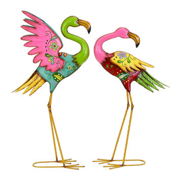 Outdoor Garden Flamingo Sculpture Set