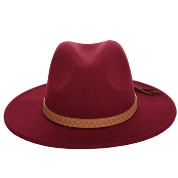 Fedora Trilby Hat -  Wool Felt Panama Leather Band  Snake pattern