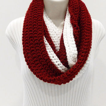 Infinity Scarf red and white, NHL, NFL inspired, hockey, football, Soccer, Sports Team Colors Infinity Scarf, Unisex Scarf, Men's Scarf